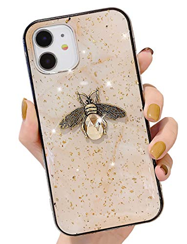BANAILOA Cute Sparkle iPhone 11 Marble Case, Luxury Glitter Gold Foil with Bling Diamond 3D Metal Bee Shockproof Bumper Cover Compatible with iPhone 11-6.1inch (Beige)