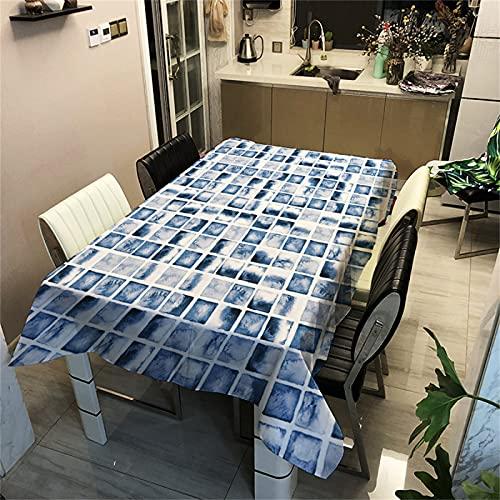 Blu Geometrico Ritratto Modello Domestico Poliestere Impermeabile Tovaglia Rettangolare Hotel Soggiorno Cucina Antivegetativa Tovaglia Ristorante Tovaglia Quadrata Tavolino Tavolino 100x140cm