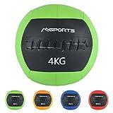 MSPORTS Wall-Ball Premium Gewichtsball 2-10 kg Medizinball (4 kg - Grün)