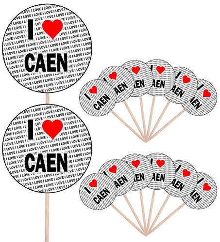 I Love Caen – Party Food – Gâteau Cupcakes – Piques – Drapeaux – Décorations à tenir debout (lot de 14)