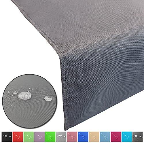 DILUMA Outdoor Tischläufer Lounge mit Lotuseffekt 50 x 150 cm Grau - Wasserabweisende & abwaschbare Tischdecken - Tischband Gartentischdecke pflegeleicht und wetterfest