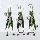 CasaJame Hogar Jardín Decoraciones Objetos Accesorios Adornos Arte Esculturas Juego de 3 Estatuas en Forma de Grillo Jardinero Metal Verde 9x10x34cm