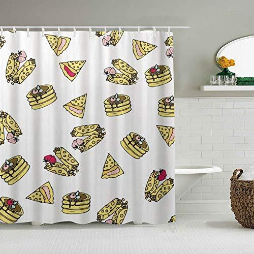 NOLOVVHA Duschvorhang,Pizza Kuchen Hot Dog Muster einzigartig,personalisierte Deko Badezimmer Vorhang,mit Haken,180 * 210