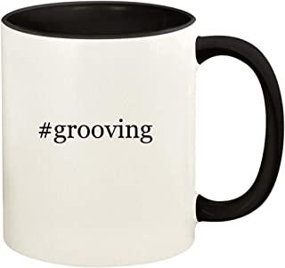 #grooving - 11oz Hashtag Ceramic Colored Handle and Inside Coffee Mug Cup, Black