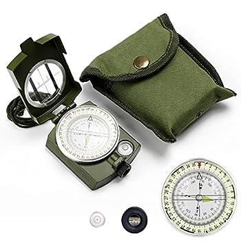 Yuragim Boussole militaire étanche avec design fluorescent, boussole de poche professionnelle résistante aux chocs, idéale pour la chasse, la randonnée, le camping et d'autres activités de plein air