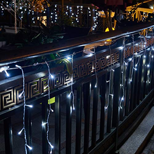 Vanthylit 320LED Icicle Strip Light Cool White with 8 Functions Twinkle String Lights Christmas Lights New Year Holiday Icicle Lights Curtains Lights Starry Lights for Patio Yard Garden Wedding Party