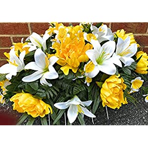 Yellow Peony~Spring Mix Flowers~Daffodil Cemetery Arrangement~Graveside Decorations~Headstone Saddle~Saddle Arrangement~Sympathy Flowers~Cemetery Flower Service Subscription Available