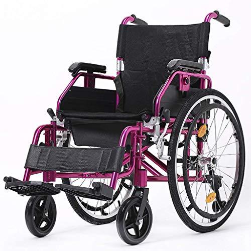 AOLI Selbstfahr zusammenklappbarer Rollstuhl, Hand Tragbarer Rollstuhl, ältere Behinderte Trolley, Aluminiumlegierung Rollstuhl, Rollstuhl-Handbremse, Schwarz,Schwarz