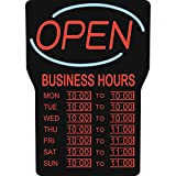 Royal Sovereign Illuminated LED Business 'Open' Sign with Hours (RSB-1342E),Black Frame, Red Writing and Blue Wave Detail