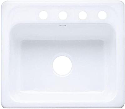 KOHLER K-5964-4-0 Mayfield Self-Rimming Kitchen Sink, White, 1.375