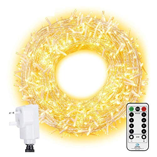 Ollny Outdoor Fairy Lights 100m 800 LED Warm White Lights Plug in Garden Lights Mains Powered Outside Lights Waterproof with Remote & Timer 8 Modes for Indoor Christmas Tree Holiday Decorations