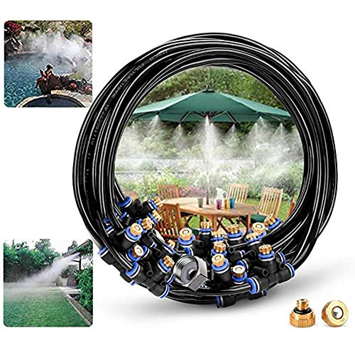 YZY Mist Cooling System, 32.8ft (10M) Misting Line + 17 Brass Mist Nozzles,Outdoor Irrigation System for Patio Garden Trampoline