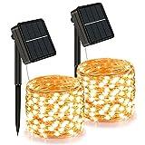 �2 Pack】Guirnaldas Luces Exterior Solar, 12M 120 LED cadena de luz exterior resistente a la intemperie, 8 modos, cadena...