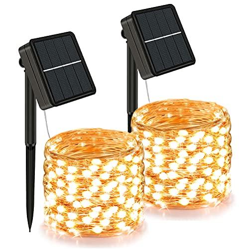 Luci Solari Esterno, 【2 Pacchi】 24m 240er LED In totale Catena Luminosa Esterno Solare Led da Esterno 8 Modalità Lucine da Esterno Decorative Per Giardino Natale Festa