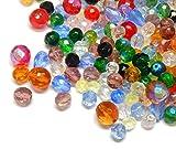 Preciosa - Cuentas de cristal Boehmisches de 100 g, mezcla AB facetada, redondas, cristal checo, multicolor, juego de manualidades para la fabricación de joyas (juego de 15)