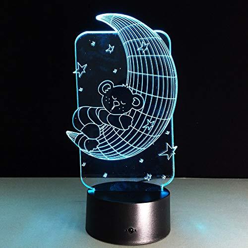 Nur 1 Teddy auf dem Mond Sterne 3D Lampe Acryl Stereo Illusion LED Schlaflampe Kinder Geschenke Nachtlicht 3D