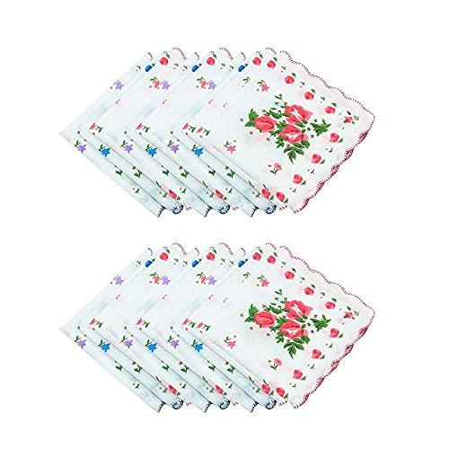 XJF Pañuelos para mujer, con borde de dientes impresos, pañuelos de 28 x 28 cm, 20 piezas vintage floral flores pañuelo toalla cuadrada de algodón