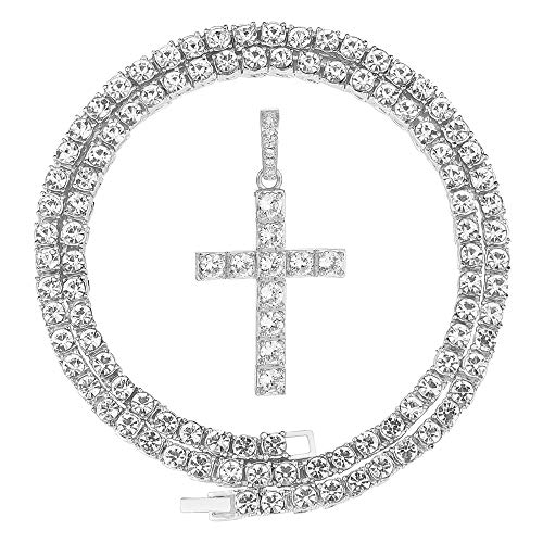 HH Bling Empire Mens Iced Out Hip Hop Silver Gold Artificial Diamond Ankh Cross Pendant cz Tennis Chain Necklace 22 Inch (Cross A -Silver, with Tennis)