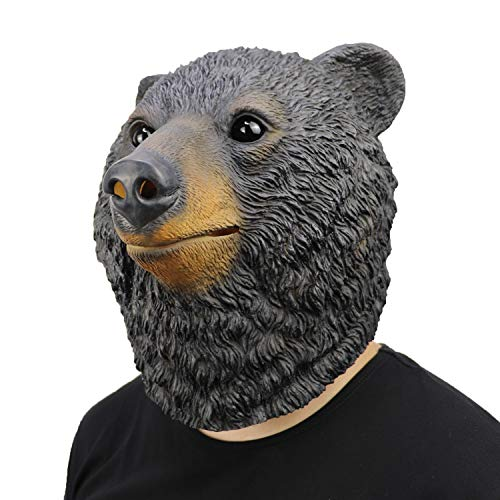 ifkoo Deluxe Black Bear Mask Novelty Animal Latex Over Head Grizzly Bear Head Mask