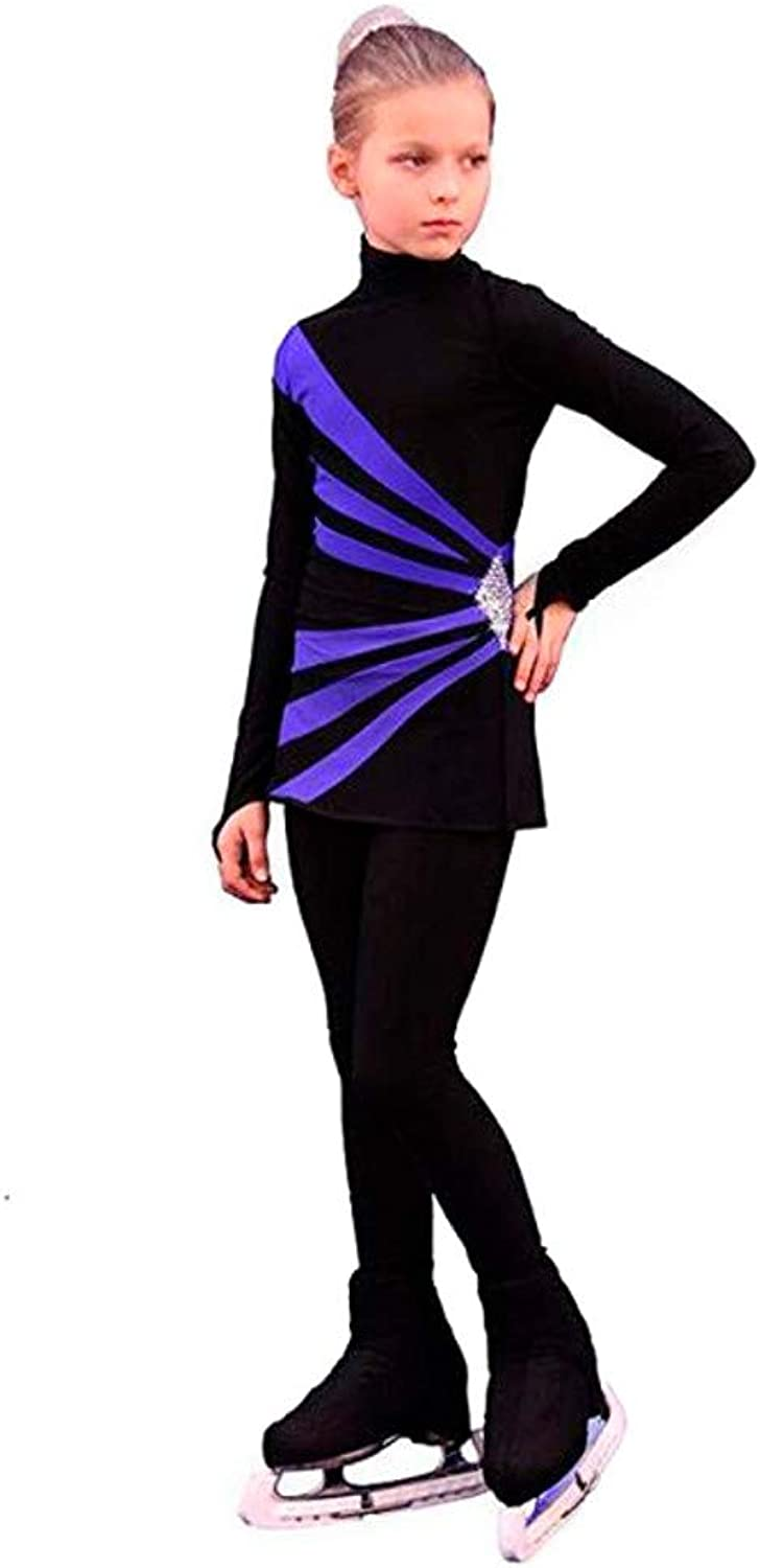 IceDress  Figure Skating Dress  Oriental 3 (Black and Cornflower)
