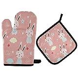 Cartoon Rabbit Bunny Pink Love Heart Cloud Oven Mitt and Pot Holder Set Guante de cocina resistente al calor para cocinar Hornear Parrilla Barbacoa