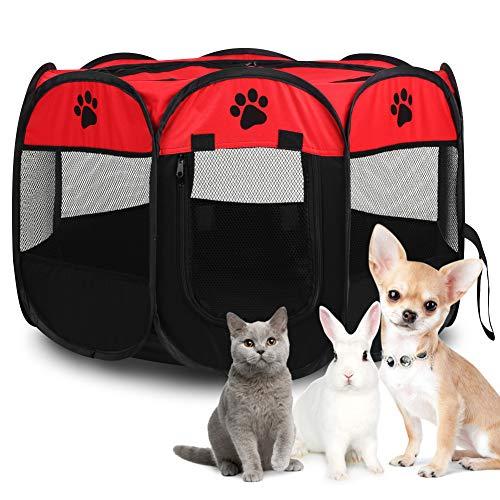 Opvouwbare huisdierentent, draagbare huisdierbox Oxford stoffen box Puppy hond kat kinderbox met 8-zijdig gaaspaneel Premium huisdierentent voor konijn, cavia-box en hamster, binnen / buiten, 27,77 x 17,72 inch