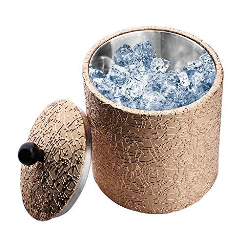 Zunruishop Eiskübel 1,2-Liter-Isoliereiskübel aus Gold-Kunstleder mit Bonus-Eiszange Robuster Edelstahl-Einsatz Eisbehälter eiswürfelbehälter