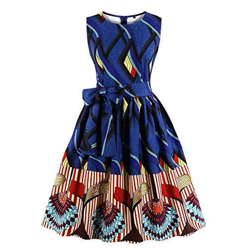 GLOGLOW dames mouwloze jurk, vintage ronde hals A-lijn zomerjurk, bowknot swing jurk korte feestjurk cocktailjurk