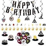 CYSJ Decoración de cumpleaños de Mago, 33 pcs Kit de Decoraciones de Cumpleaños de Harry Potter, Decoracion de Fiesta...