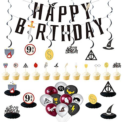CYSJ Decoración de cumpleaños de Mago, 33 pcs Kit de Decoraciones de Cumpleaños de Harry Potter, Decoracion de Fiesta Mago, Globos de Látex de Mago, Pancarta de Fiesta