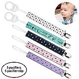 HBselect Schnullerband Schnullerkette Clip mit Baby Silikonring Adapter für Schnullerketten für Baby Junge Mädchen (7 pcs)