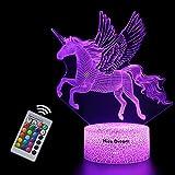 Unicornio 3D Luz Nocturna para Niños, LED Luces nocturnas Ilusión, 3D Lámpara de Luz 7 Colores Cambian con Control Remoto, Regalos para Niños Niñas y Adultos (unicornio2)