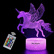 Unicorn Gift Unicorn Night Light for Kids, 3D Light lamp 7 Colors Change with Remote Holiday and Bir...