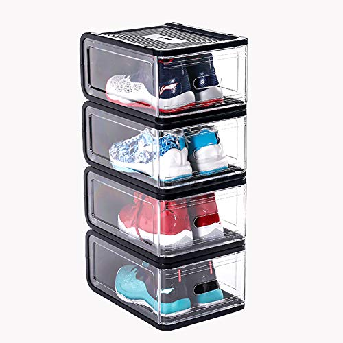 ADAHX Magnetic Side Open Transparent Plastic Storage Shoe Box Heavy Duty Stackable Organizer Cabinet Sneaker Easy DIY Storage Clear Shoe Rack,Black,283818CM