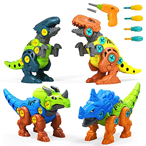 UTTORA Dinosaurier Spielzeug,4 Stück Dinosaurier Spielzeug mit Elektrische Bohrmaschine Werkzeugen DIY Gebäude Spielzeug für Kinder Zerlegen Tiere Spielzeug,Denkspiel Geschenke für Jungen und Mädchen