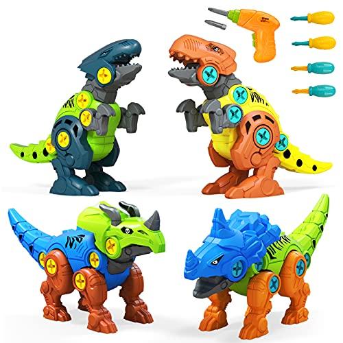 UTTORA Dinosaurier Spielzeug,4 Stück Dinosaurier Spielzeug mit Elektrische Bohrmaschine Werkzeugen DIY Gebäude Spielzeug für Kinder Zerlegen Tiere Spielzeug,Denkspiel Geschenke für Jungen und...