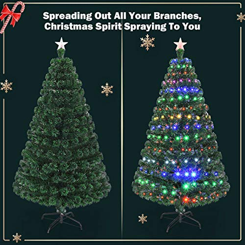 Goplus 6FT Artificial Christmas Tree Pre-Lit Optical Fiber Tree 8 Flash Modes W/UL Certified Multicolored LED Lights & Metal Stand