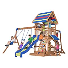 Large upper deck with ships wheel and telescope (no magnification) Lower deck with covered snack bar & bench 2 belt swings and trapeze bar Rock wall ladder and challenging monkey bars 8ft. super speedy slide