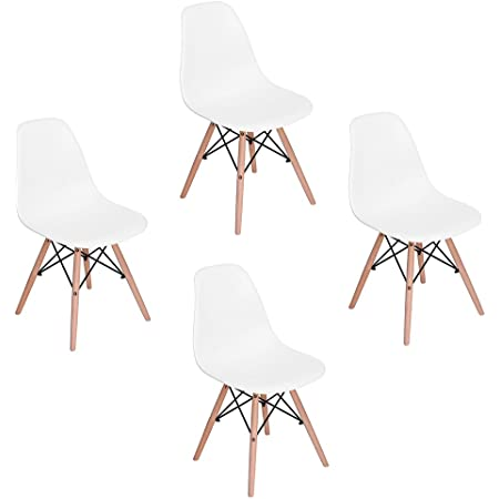 """ELERANBE Side 18"""" Height Armless Accent Chairs with Eiffel Natural Beech Wood Base Legs for Dining Waiting Room Bedroom Kitchen, Set of 4, White"""
