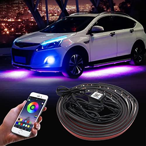 Auto Unterboden Neon Light, 35&23 Zoll 12V LED Streifen Unter Auto Farbe RGB Auto Chassis Light mit Sprachsteuerung und Kabelloser Fernbedienung, Auto Atmosphere Beleuchtungs-Kit