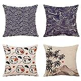 QXbecky Cojines Sofas Cojines y Accesorios Fundas de Cojines Funda de Almohada Cuadrada de Lino de algodón japonés 4 Piezas Funda de cojín para sofá de decoración del hogar 45cm