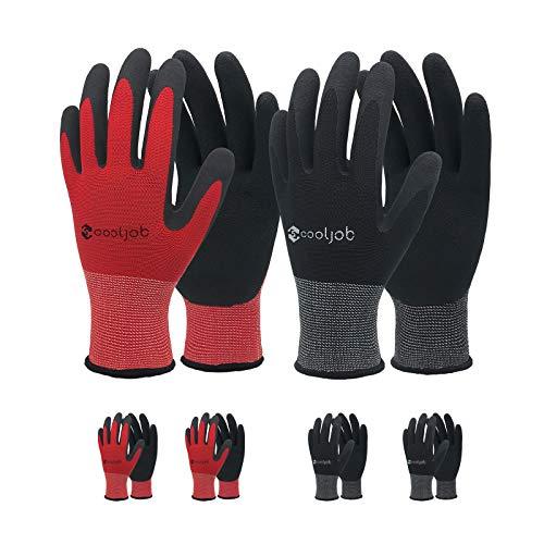 COOLJOB Gartenhandschuhe für Herren, 6 Paar atmungsaktive, gummibeschichtete Montagehandschuhe, Arbeitshandschuhe für Herren, Männerhandschuhe mittlerer Größe, schwarz und rot (halbes Dutzend M)