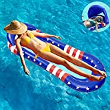 ALLADINBOX Inflatable Float with Canopy for Adults and Kids, Mesh Pool Float Adult Inflatable Pool Float Raft with Shade Water Lounge, Inflatable Pool Hammock with Canopy