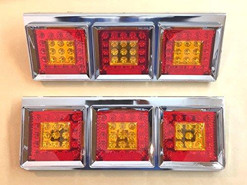 2 x en acier inoxydable Chrome carré LED Feux arrière Lampes Camion Remorque Chassis LKW