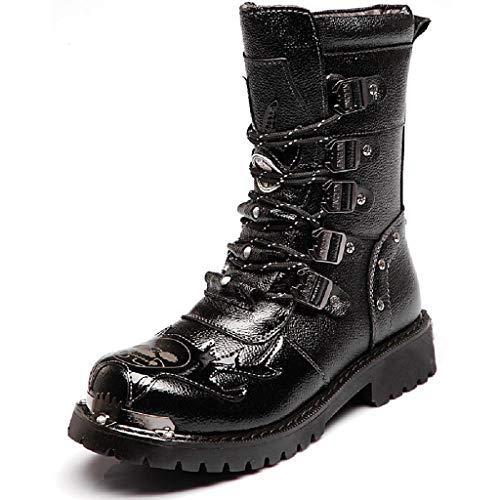 Botas altas para hombres, botas militares de combate táctico del ejército, botas largas de motociclista al aire libre, botas largas de cuero con cabeza acero botas Martin informales moda,Black-42