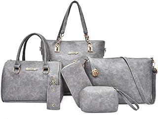 ROSCN Handtasche Damen Gross Leder Tasche Umhängetasche Schultertasche Shopper Henkeltasche Damen 6 Set