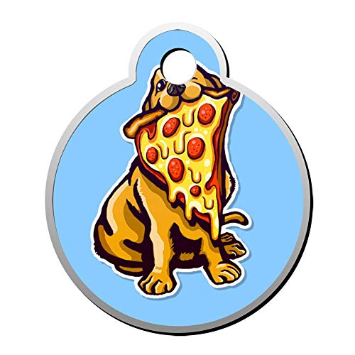 Aanpasbare ronde vorm ID labels, creatieve hond eten Ham Pizza gepersonaliseerd dubbelzijdig bedrukte huisdier informatie kraag voor kat hond