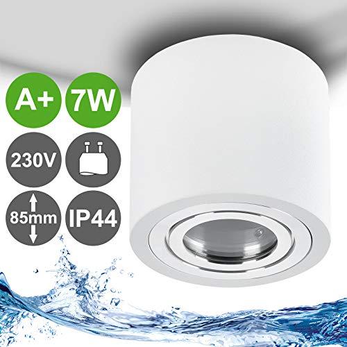 MILAN-L LED Aufbauleuchte IP44 mit LED 6W dimmbar GU10 230V Aluminium Weiß & rund - Decken Aufbaustrahler für Badezimmer und Aussenbereich - Warmweiß