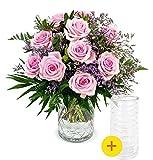 Blumenstrauß Frisch Verliebt, Rosa Rosenstrauß, 7-Tage-Frischegarantie, Qualität vom Floristen, rosa Rosen, Statice, GRATIS-Vase, perfekte Geschenkidee, versandkostenfrei bestellen