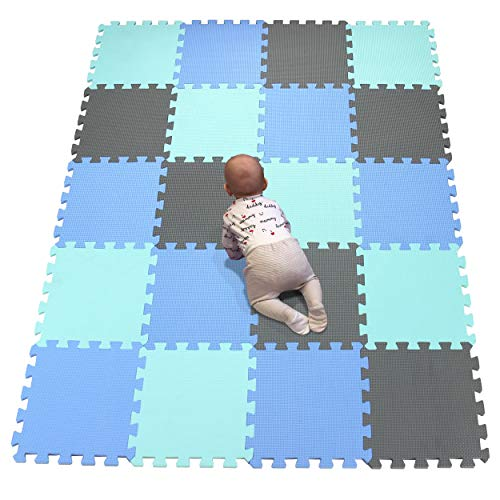 YIMINYUER Bebés Suave Silencioso Alfombra, Niños Puzzle Alfombrilla, Encajable Suelo Pad, Infantil Casita Pad Protector Acolchado Ejercicio Azul Verde Gris R07R08R12G301020